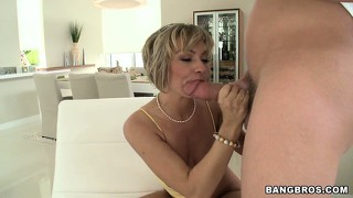Milf holly marie loves to suck and fuck a young man's jolly member