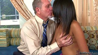 Petite tan skin latina ruby rayes shows her sexy nude body to white older man. he touches her pretty small natural tits and hairless pussy. she plays with her ass before she takes his erect cock in her hot mouth.
