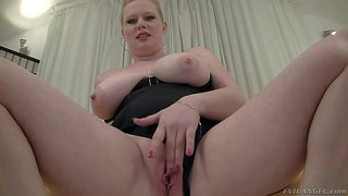 Veronika f is a pale skinned bbw in tight black corset. she demonstrates her big natural melons and plays with her pink meaty pussy. she shows off her titties and fingers her wet hole at the same time