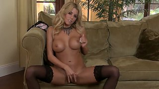 Beautiful blonde nicole graves gets off fingering both holes