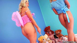 Aubrey addams and nikky thorn are two sweet angelic blondes with lovely bare asses. they expose their butts and then give blowjob to lucky older man together in threesome scene.