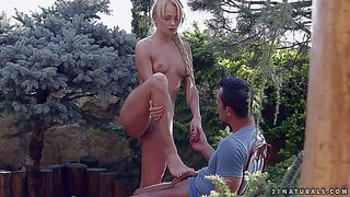 Cute young blonde ivana sugar with perky tits takes off her jean shorts and thong after blowjob in the garden. then tender fair-haired girl takes hard dick in her love hole, watch her have sex in the open air.
