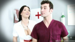 Dr. dreamy cream is comforted by the hot busty brunette nurse