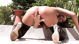 Zara with giant hooters and bald snatch gives pleasure to herself using toy