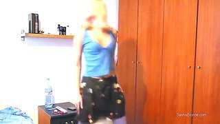 Slender bodied blonde chick sasha fools around and dance in front of the camera