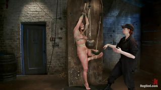 Cute missy punished while hanging tied