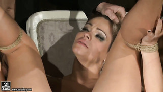 Brunette loves getting her face stuffed by hot guy