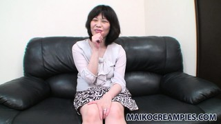 Chiyo goes from smiling shyly to baring her hairy pussy on camera