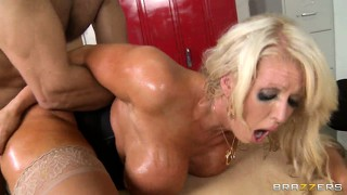 Slutty blonde gets drilled from behind then slurps and swallows his jizz