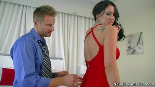 Gorgeous and curvaceous brunette alexis grace seduces her coworker and friend levi cash and enjoys in taking off her sexy red dress for him, so he could lick her pussy
