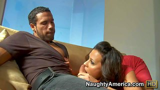 Rachel starr is his dad's adorably sexy girlfriend with big tits and great cock sucking skills. brunette in red strips down to her bare skin in front of him and takes his sausage in her hot mouth.