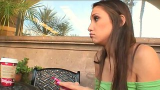 Two elegant babes celeste star and dana vespoli with beautiful eyes talking in the cafe