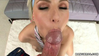 She toys her twat, blows his rod and gets it shoved in her pecker hole