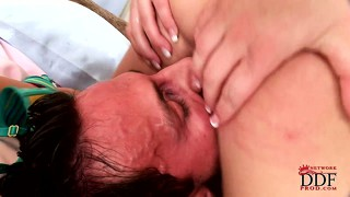 Cock-hungry vixen does everything to get this schlong inside