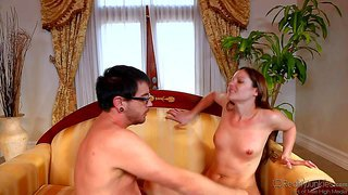 Samantha ryan is s skinny tiny titted milf who loves sex with young guys like dane cross. four-eyed guy can't keep his lips off her sweet pussy after she takes off her sexy blue panties.