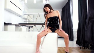Beautiful heaver in amazing black dress travels down her pussy