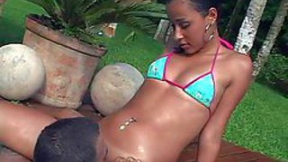 Amateur petite latina babe with natural boobies and sexy tanlines in bikini teases handsome stud and gets her shaved tight pussy licked good by the pool on a sunny day
