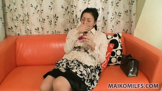Naughty japanese milf plays with herself to please the camera