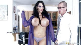 Huge boobs mom fucked in the kitchen
