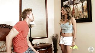 Nadia catches him sniffing her panties