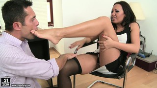 Sexy rio lee is a hot asian secretary of your dreams with talented feet