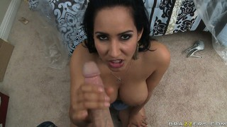 Dark-haired milf with awesome big tits giving head in pov video