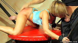 Fair-haired sex slave szilvia lauren in linegrie gets throat fucked by horny master before she spreads her legs and gets her hairless pussy attacked. he inserts his thrrrobing rod in her helpless vagina!
