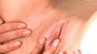 Adria with juicy hooters and bald snatch has some lesbian sex fantasies to be fulfilled with vika
