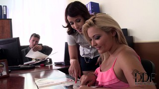 Hot blonde secretary gets naughty with the boss and his sexy brunette assistant