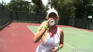 Blonde tennis hottie marilyn scott gets taped up and fondled on the tennis court