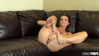 Jennifer dark pulls the panty surprise out of her twat and fingers it