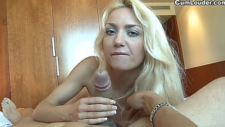 Czech cutie pleasuring a big cock with her hands