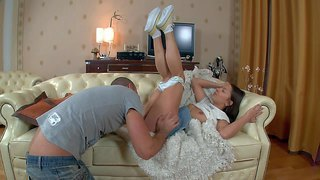 Teen girl joy in short skirt pulls down her panties to be fucked by her horny fuck buddy. she sucks his cock and the gets her hairless meaty pussy pounded from behind. she gets hardcore fucked!