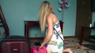 Lilly banks tries on new sandals