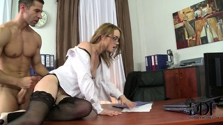 The secretary slides that cock in her mouth before it drills her ass hard and deep