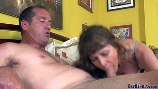 Alexandra silk is a horny mature slut in sexy lingerie. she gives deep blowjob to hot older man before she bounces up and down on his nice love bone. horny woman loves it hardcore.