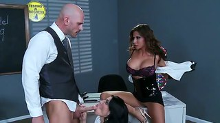 Three brunette johnny sins, madison ivy and rebeca linares suck penis