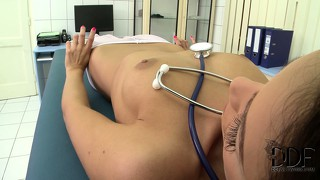 Doctor cums using her feet on her clit, then gets dressed for lunch
