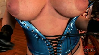 Stunning brunette slowly strips her sexy blue latex outfit revealing her huge tits