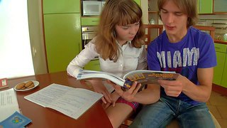 Innocent looking real schoolgirl gerda with natural boobies and slim sexy body in white shirt and provocative skirt makes out with her horny boyfriend and gets her tight pussy fingered