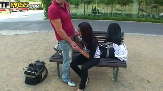Sexy teen with small boobs iva enjoys sucking this guy's cock in public