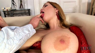 Busty terry gets two cocks to satisfy her desire, she loves it