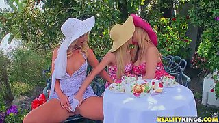 Sammie rhodes, sarah vandella and natalie nice three elegant blond-haired lesbians. they kiss then bare their neatly shaved pussies and sexy boobies to have fun in the open air. watch three beautiful lesbian ladies do it in the garden.