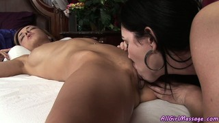 Busty brunette and hot blonde eat pussy and do sixty-nine together