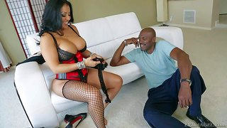 Provocative cock loving naughty mature latina cougar kiara mia with big juicy knockers and delicious ass in tight corset and fishnet stockings has some fun with black dude lexington steele