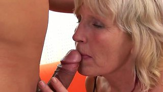 Lusty granny evelin a is having fun devouring young and cute, steve q's hard male rod