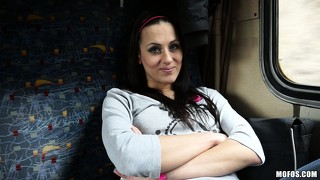 She's riding the euro railway and is seduced by the pile of cash