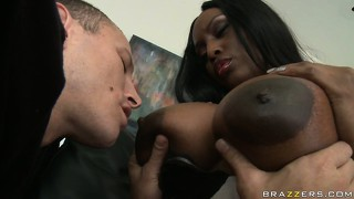Devilish, black queen gets her giant nipples sucked by white dude