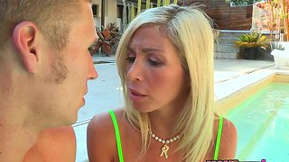 Gorgeous babe evita pozzi is playing with handsome michael vegas while castity lyn is filming