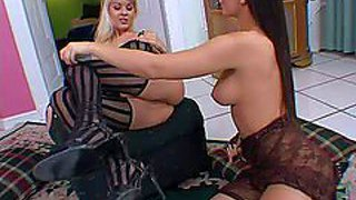 Adorable young blonde and black haired lezzies jasmine rouge and eve angel with natural boobs in sexy lingerie get horny and lick each others cunnies to orgasms in close up